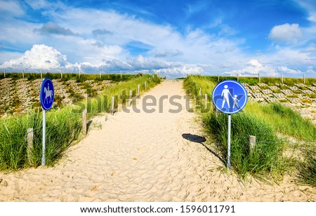 Sand trail with road signs. Sandy trail road signs. Road signs on sandy trail #1596011791
