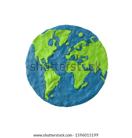 Planet Earth made of plasticine and isolated on white background