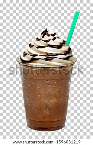 Frappuccino or iced coffee with cream and chocolate. sauce in plastic takeaway cup isolated on checkered background