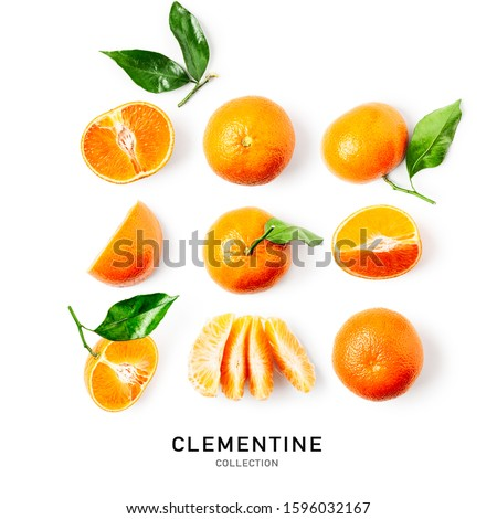 Fresh clementine with leaves collection and creative pattern isolated on white background. Healthy food concept. Tangerine or mandarincitrus fruits composition. Flat lay, top view. Design elements #1596032167