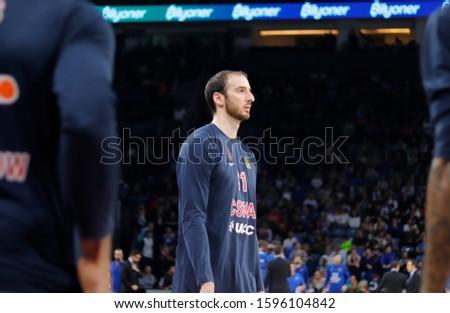 ISTANBUL / TURKEY - DECEMBER 20, 2019: Kosta Koufos during EuroLeague 2019-2020 Round 15 basketball game between Anadolu Efes and CSKA Moscow at Sinan Erdem Dome. #1596104842