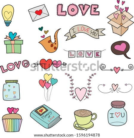 Valentines Day thin line icon set. Outline sign kit of love. Couple Hearts linear icons of cupid bow, Simple february 14 black symbol on white.  Illustration