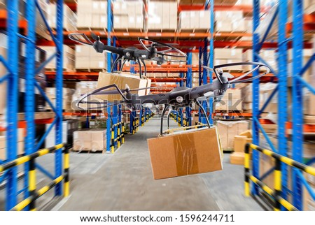 Industrial stock storage products storage system by drone unmanned aircraft.Distribution through the drone system, Warehouse storage of retail merchandise shop. #1596244711