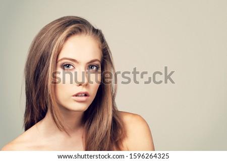 Beautiful woman beautiful with long hair #1596264325