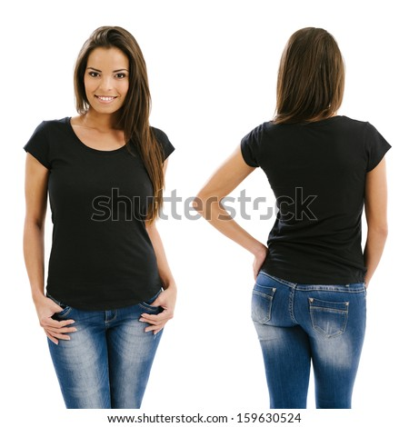 Young beautiful sexy female with blank black shirt, front and back. Ready for your design or artwork.  #159630524