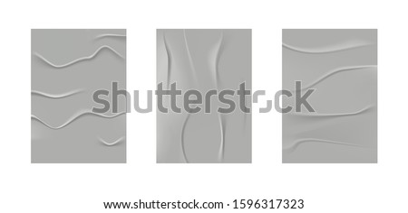 Wrinkled poster template set.Glued paper. Vector Realistic wet wrinkled posters mockup.Glued street wall. #1596317323