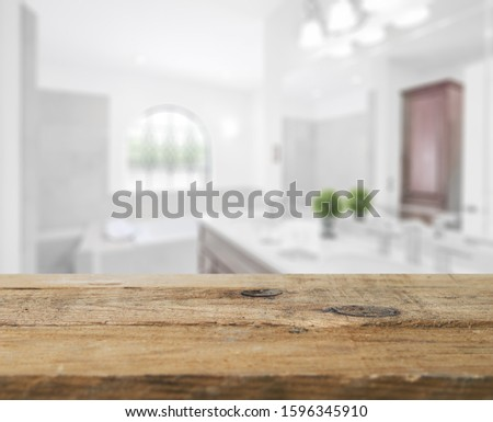 Table Top And Blur Bathroom Of The Background #1596345910