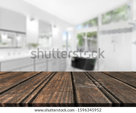 Table Top And Blur Bathroom Of The Background #1596345952