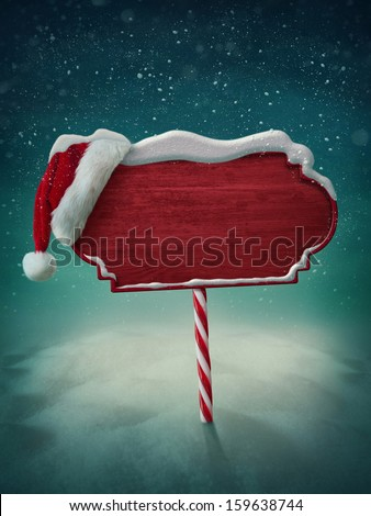 Wooden red sign and santa hat  Royalty-Free Stock Photo #159638744