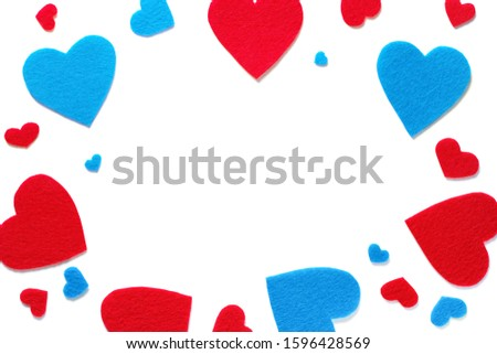 Background Of Red And Blue Hearts Or Valentines On A White Background. The Concept Of The Valentine's Day Holiday. symbol of love. Place To Copy. #1596428569