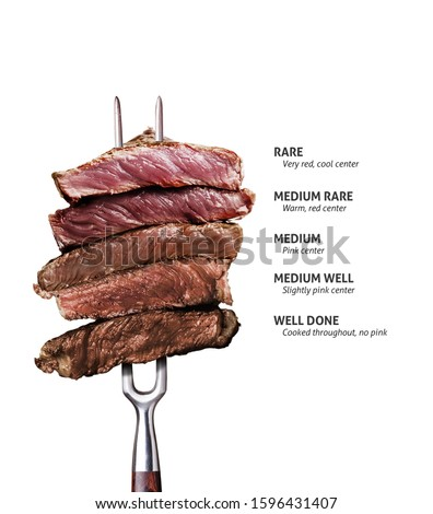 Slices of beef steak on meat fork on dark wooden background Steak #1596431407