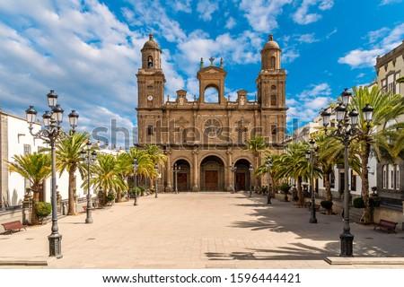 Landscape with Cathedral Santa Ana Vegueta in Las Palmas, Gran Canaria, Canary Islands, Spain #1596444421