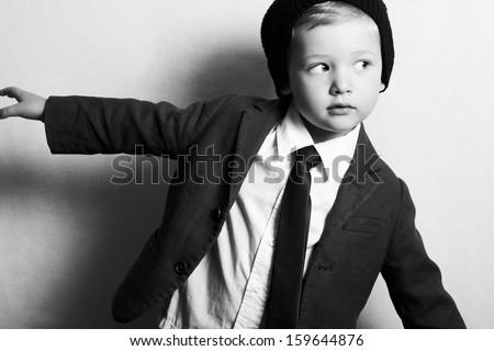 Fashion little boy in tie.stylish kid. fashion children.suit.monochrome
