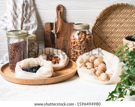 Waste-free domestic life. Kitchen storage of reusable products for the environment and zero waste life. Plastic free life. Zero waste concept.  Royalty-Free Stock Photo #1596494980