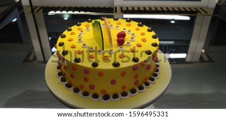 A closeup image of a cake. Cake is used in celebration of birthday, anniversary and on good occasions.