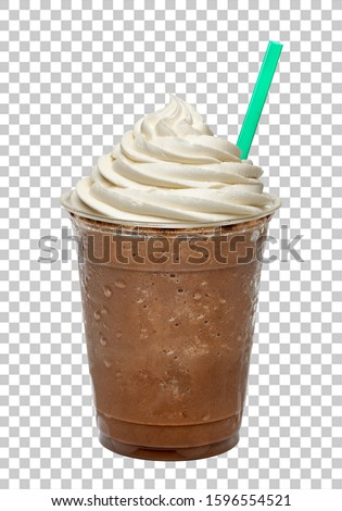 Frappuccino or iced coffee with cream and straw in plastic takeaway cup isolated on checkered background