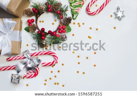 Christmas cookies with festive decoration and gifts #1596587251