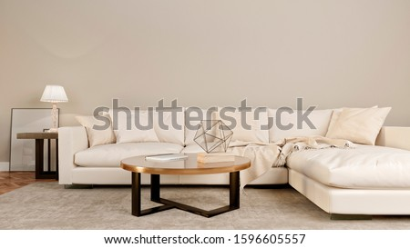 Modern living room interior mockup with a sofa, lamp, table. 3D rendering.   #1596605557