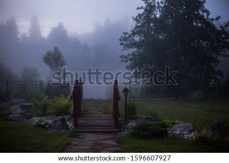 Foggy landscape. Landscape countryside design. #1596607927