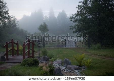 Foggy landscape. Landscape countryside design. #1596607930