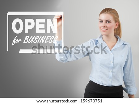 open for business sign hand drawn on to the screen by businesswoman