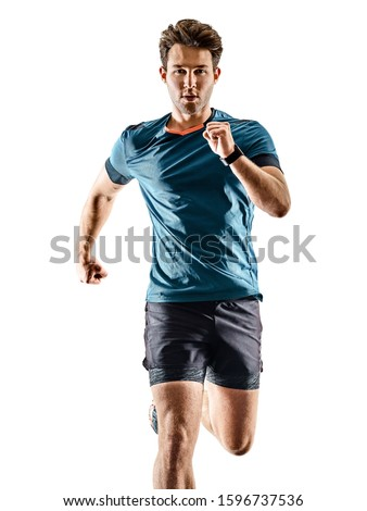one caucasian runner running jogger jogger young man in studio isolated on white background #1596737536
