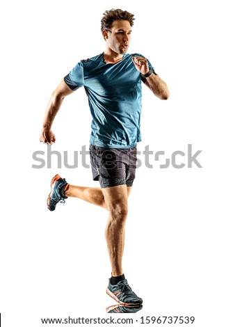 one caucasian runner running jogger jogger young man in studio isolated on white background #1596737539