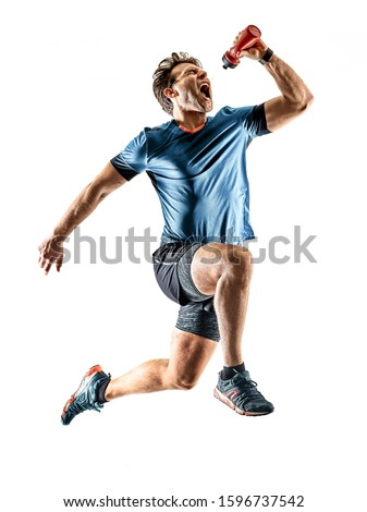 one caucasian runner running jogger jogger young man in studio isolated on white background #1596737542
