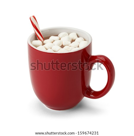 Cocoa in Red Mug with Marshmallows and Candy Cane Isolated on White Background.