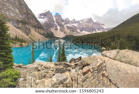 Beautiful autumn views of iconic Lake Louise in Ban ff National Park in the Rocky Mountains of Alberta Canada.Moraine Lake during summer in Ban ff National Park, Canadian Rockies, Alberta, Canada. #1596805243