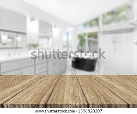 Wood tabletop on blur bathroom background, design key visual layout #1596820207