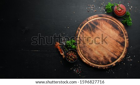 Food background. Spices, herbs and kitchen tools. Top view. free space for your text. Rustic style. #1596827716