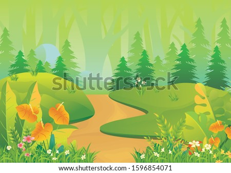 Tropical Landscape vector background Illustration, beautiful of a jungle landscape with leaves and foliage of tropical plants, trees, grass and mountain #1596854071