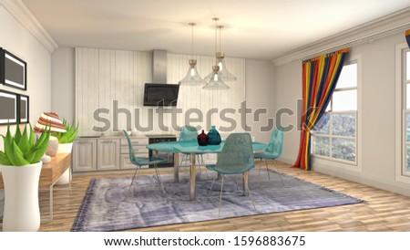 Interior dining area. 3d illustration. #1596883675