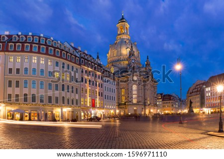 Lutheran church of Our Lady aka Frauenkirche with market place at night in Dresden, Saxony, Germany #1596971110