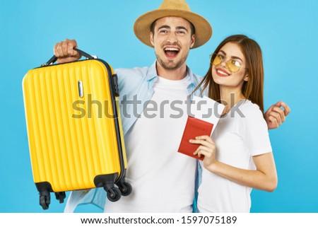Travel suitcase married couple smile fun tourism #1597075189