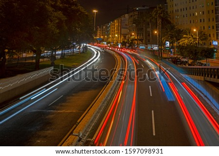 Las Palmas de Gran Canaria, Spain - December, 13 2019: Avenida Maritima by night. #1597098931