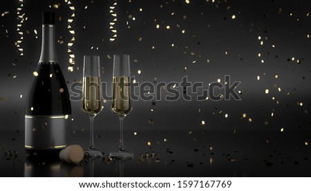 Happy New Year Background with Champagne in glasses - 3d rendering #1597167769