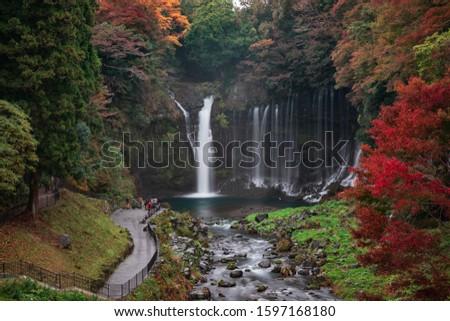 autumn, waterfall in fujinomiya japan, best place for visitting #1597168180