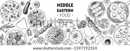 Arabic food top view frame. Food menu design. Vintage hand drawn sketch vector illustration. Arabian cuisine frame. Middle eastern food. Royalty-Free Stock Photo #1597192324