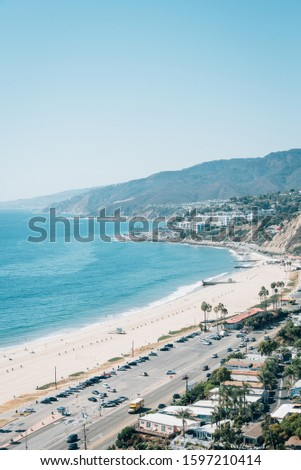 View of the Pacific Coast in Pacific Palisades, Los Angeles, California #1597210414