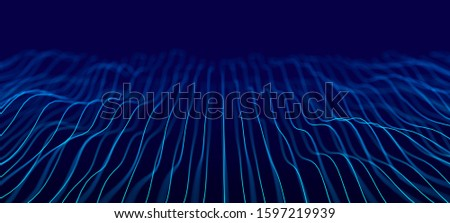Wave of dots and weave lines. Abstract background. Network connection structure. #1597219939