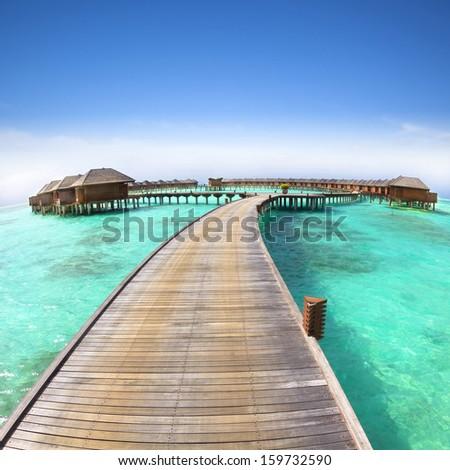 beautiful water villa on the sea. maldives #159732590