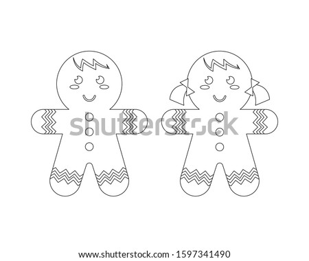 Gingerbread boy and gingerbread girl vector illustration cartoon colorless for coloring book. Christmas cookies cute vector cartoon.  #1597341490