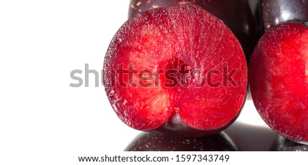 Plum Fruit tree with small juicy edible fruits, which have a large bone,. an oval fleshy fruit that is purple, reddish, or yellow when ripe and contains a flattish pointed pit. #1597343749