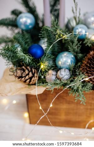 Beautiful christmas wreath in box. #1597393684