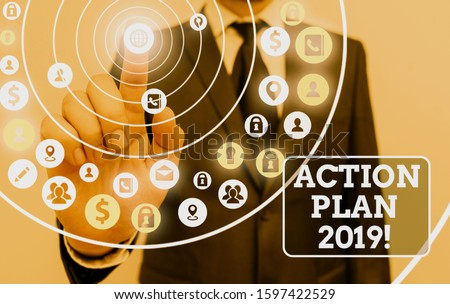 Text sign showing Action Plan 2019. Conceptual photo proposed strategy or course of actions for current year. #1597422529
