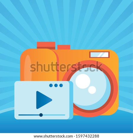 media player template with play button and camera photographic vector illustration design #1597432288