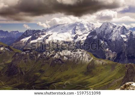 Pordoi - Dolomites mountain pass Italy Alps #1597511098