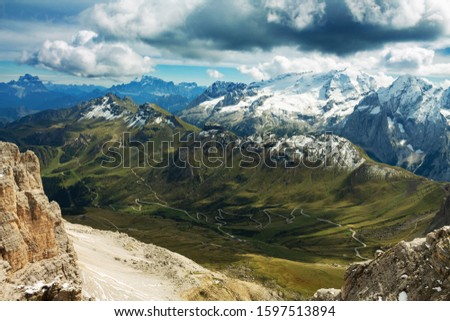 Pordoi - Dolomites mountain pass Italy Alps #1597513894